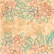 Vintage floral background with grunge texture — Stock Vector