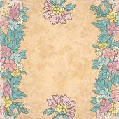 Eski kağıt üzerinde eski çiçek arka plan — Stok Vektör