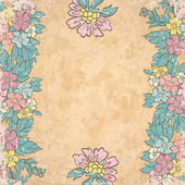 Vintage floral background on old paper — Stock Vector