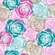 Color rose pattern — Stock Vector