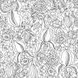Black and white floral sketch seamless — Stock Vector