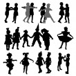 Stock Vector: Dancing children silhouettes
