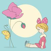 Fondo con niña y flores, mariposa — Vector de stock