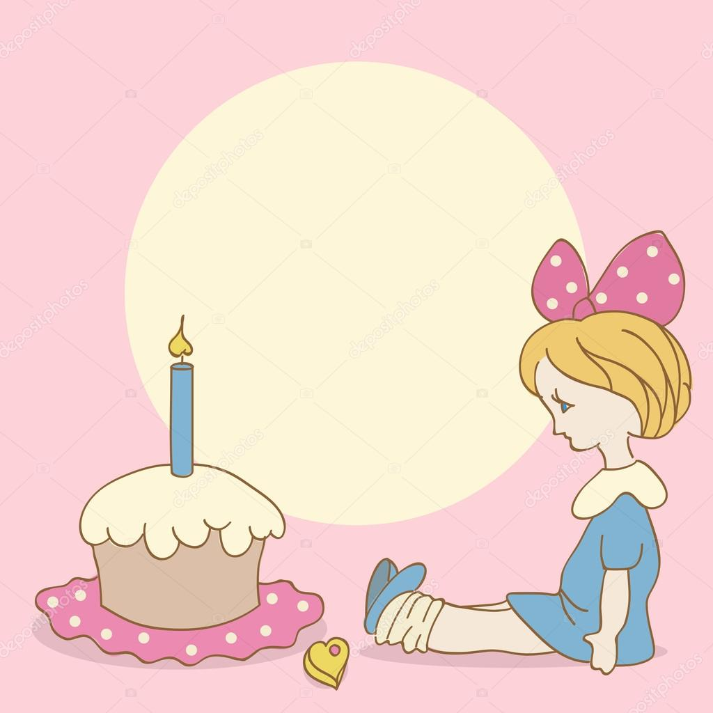 Invitation card with girl and cake. Birthday background — Stockvectorbeeld #16264509