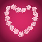 Heart from pink roses — Stock Vector