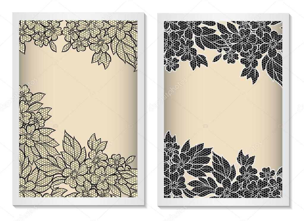 invitation card template vertical with lace  stock vector, invitation samples