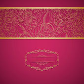 Red ornamental card with lace — Stockvector