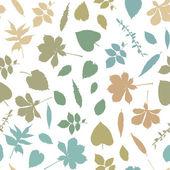 シームレスなカラフルな葉のシルエット — ストックベクタ