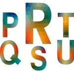 Mosaic alphabet letters PRSTQU — Stock Vector #24743425