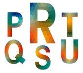 Mosaic alphabet letters PRSTQU — Stock Vector