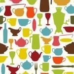 Tableware seamless — Stock Vector