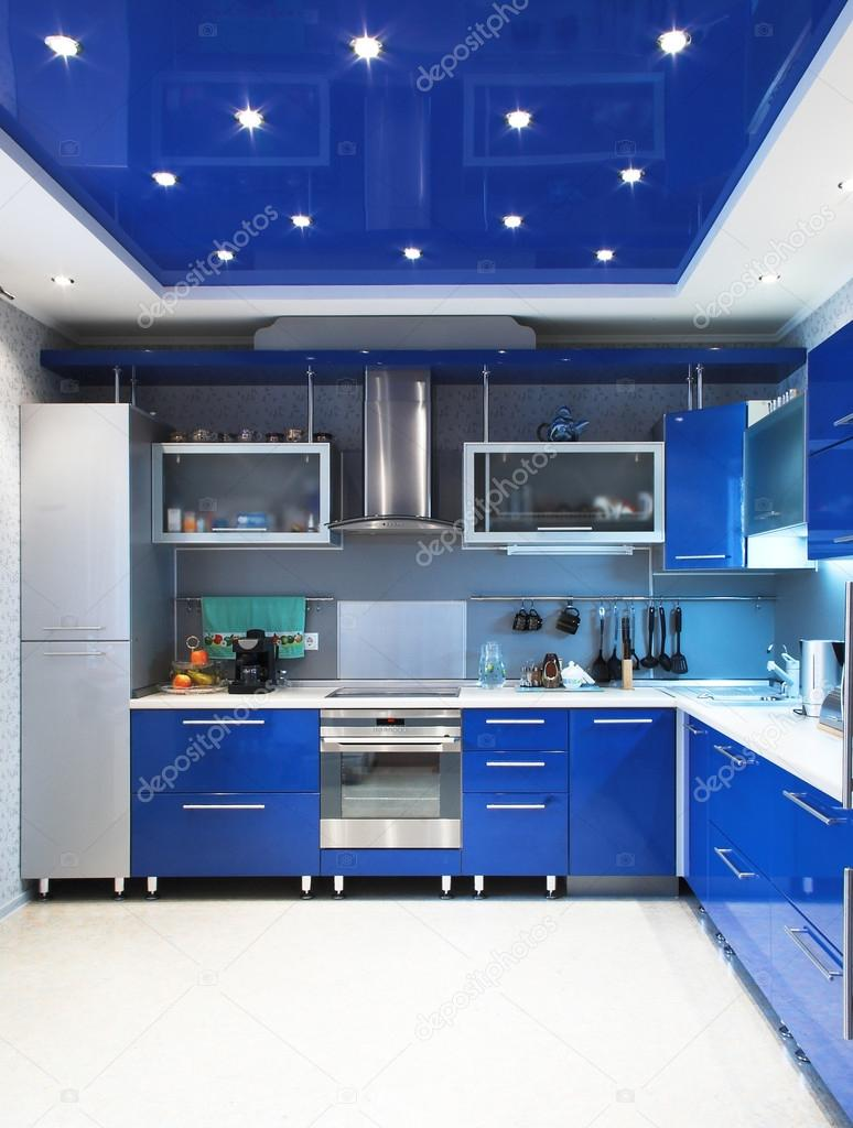 Modern kitchen interior in blue — Stock Photo #18178655