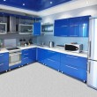 Stock Photo: Modern kitchen interior in blue tones
