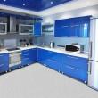 Modern kitchen interior in blue tones — Stock Photo
