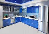 Modern kitchen interior in blue tones — Stock Photo