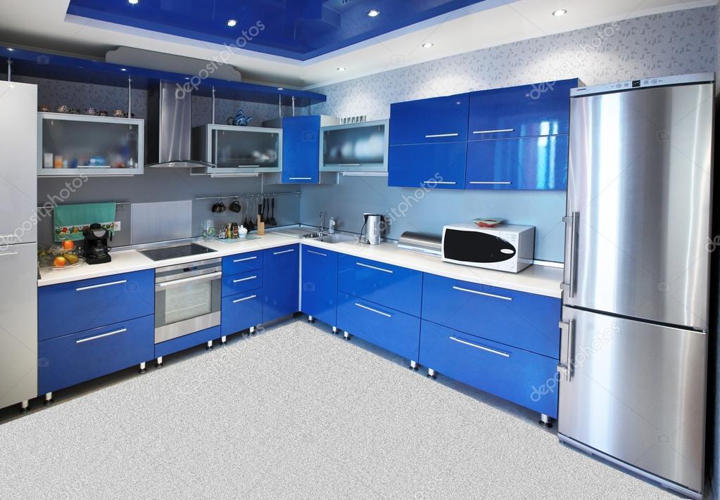 Moderne keuken interieur in blauwe tinten stockfoto palomnik 18564185 - Keuken wit en blauw ...