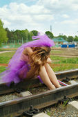 Beauty girl on the rail — Stock Photo