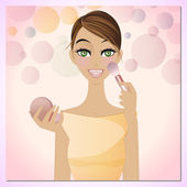 Beauty applying blush — Stock Vector