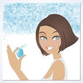 Güzellik parfüm kullanmak — Stok Vektör