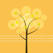 Abstract tree with yellow background — Stock Vector