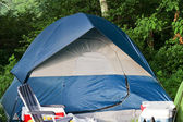 Camping area with blue tent — Stock Photo