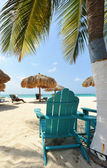 Beach beds in Aruba — Stock Photo