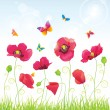 Royalty-Free Stock Vector Image: The Red Poppies and Butterflies