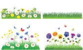The Green Grass and Flowers. Vector Set. — Stock Vector
