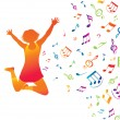 Royalty-Free Stock Vector Image: Young active woman . Music background.