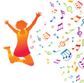 Young active woman . Music background. — Stock Vector