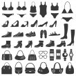 Set of vector silhouettes: shoes, swimwear and accessories. Icons. — Stock Vector