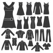Set of Women's Clothing. - Vettoriali Stock