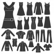 Set of Women's Clothing. - Stock Vector