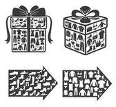 Einkaufen. geschenk. kleidung. design-elemente. — Stockvektor