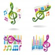 Set of color music icons. — Vector de stock