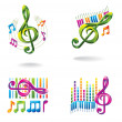 Set of color music icons. — Vettoriale Stock