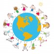 Royalty-Free Stock Vector Image: Children around the Earth. Conceptual background.