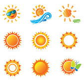 Set of Suns. Beautiful elements for design. — Stock Vector
