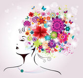 Beautiful style Woman with Flowers and Butterflies. — Stockvector