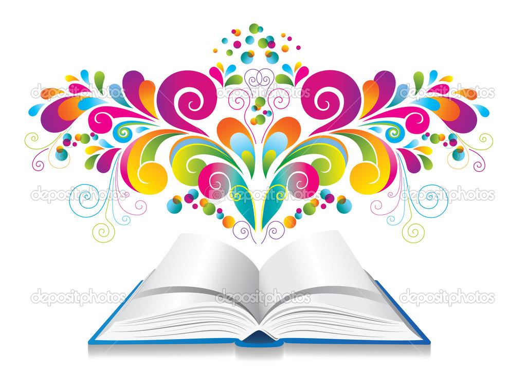 Libro Abierto Con Rizo Y Salpicaduras De Color