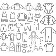 Set of Children clothing. Vector icons.  — Stok Vektör