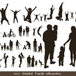 Set of very detailed family silhouettes. Jumping and walking. — Stock Vector
