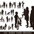 Set of very detailed family silhouettes. — Stock Vector