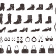 Set of vector silhouettes: shoes and accessories. Icons. — Stock Vector