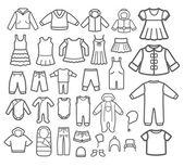 Un ensemble de vêtements pour enfants. icônes vectorielles. — Vecteur