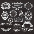 Stock Vector: Vintage Styled Premium Quality and Satisfaction Guarantee Label on the chalkboard.