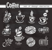 Coffee. Design elements on the chalkboard. — Stock Vector
