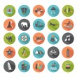 Stock Vector: Set of travel icons. Modern flat design elements.