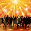 Stock Vector: Young dancing people on party. Sunny background.
