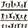 Young active family. Very detailed silhouettes. Set. — Stock Vector